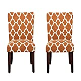 HomePop Parsons Classic Upholstered Accent Dining Chair, Set of 2, Rust and Cream Geometric