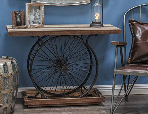 Deco 79 Metal and Wood Wheel Console, Brown/Black