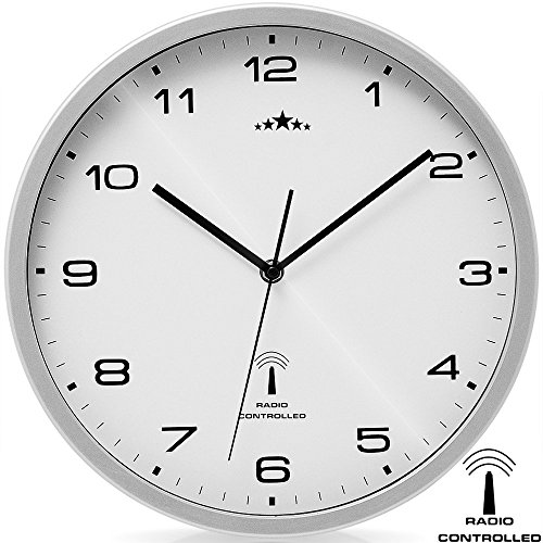 Deuba Wanduhr Funk Automatische Zeitumstellung Geräuscharm Quarzuhrwerk Analog 31cm Küche Funkuhr Uhr Modern Weiß Silber