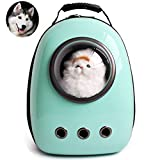 Dulcii Pet Carrier,Cat Dog Puppy Travel Hiking Camping Pet Carrier Backpack, Space Capsule Bubble Design,Waterproof Soft-Sided Handbag Backpack for Cat and Small Dogs Mutil Colors to Choose (Cyan)