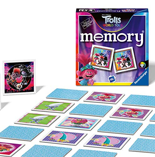 Ravensburger 20590 Trolls 2 World Tour Mini Memory Kids Age 3 Years and Up-A Classic Picture Snap Matching Pairs Game
