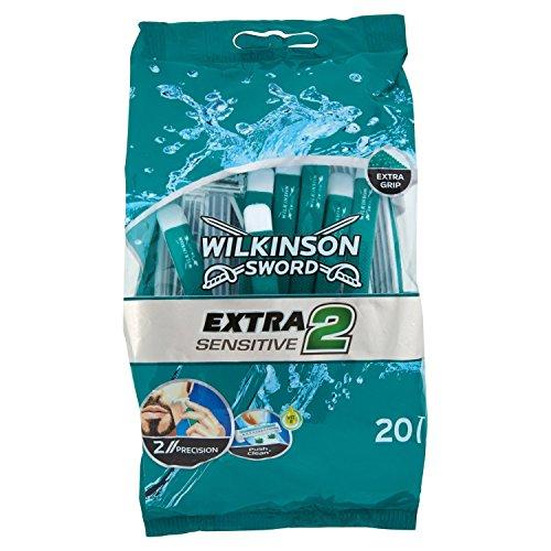 Wilkinson Sword Extra 2 Sensitive - Bolsa 20 Maquinillas de Afeitar Desechables para Pieles Sensibles