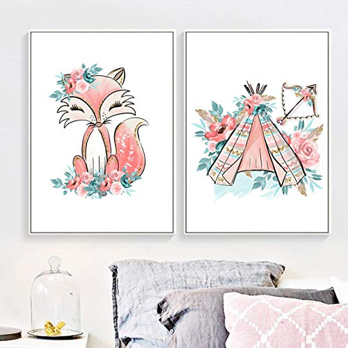 Animales Dibujos animados (lienzo de arte de pared) Impresiones de arte Fox Rent Flor Hoja Carteles...