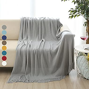 ALPHA HOME Soft Throw Blanket Perfect Gift Warm & Cozy for Couch Sofa Bed Beach Travel - 50  x 60 , Gray