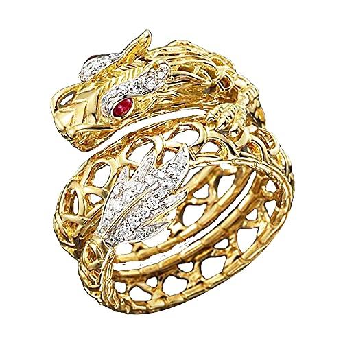 incrustaciones Cristal de diamantes de imitación Anillo chapado en oro Exclusivamente elegante 3D Forma de dragón Anillos de banda Gótico Hip Hop Punk Joyería de fiesta Regalos para hombres (9)