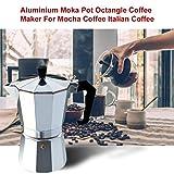 Cafetera de Aluminio Moka Pot Octangle para café Mocha Café Negro Café Italiano Regalo práctico Fácil Limpieza - Plata
