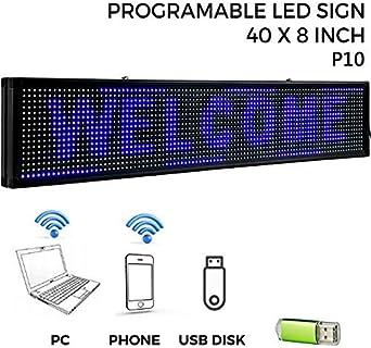 VEVOR Letrero de Desplazamiento LED 101 x 20 x 5cm Letrero LED Rectangular LED Desplazamiento Publicitario Azul para Publicidad y Negocios