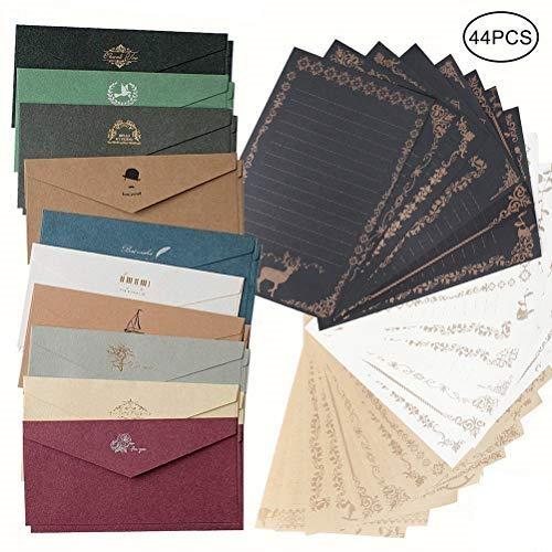 shiyi アンティークレターセット封筒20枚 便箋3色24枚 かわいい メッセージカード封筒付き グリーティングカード バースデーカードを大切な人へ