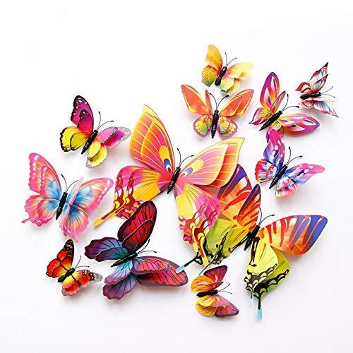 Estilo 12 piezas de doble capa 3D mariposa etiqueta de la pared en la pared decoración del hogar mariposas para decoración imán pegatinas de nevera