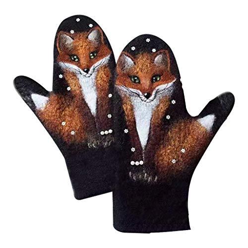 Guantes de cachemira de imitación para mujer, diseño floral, lobo, gato, animal 3D, térmica, cálidos