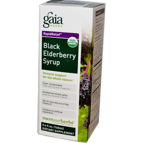 Rasche Linderung, Schwarzer Holunder-Sirup, 5,4 Flüssigunzen (160 ml) - Gaia Herbs