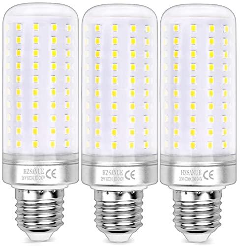 HZSANUE LED Ampoule à Maïs 26W, 200W Équivalent ampoules à Incandescence, E27 Edison Vis Ampoule, 6000K Blanc Froid, 2600LM, Pack of 3