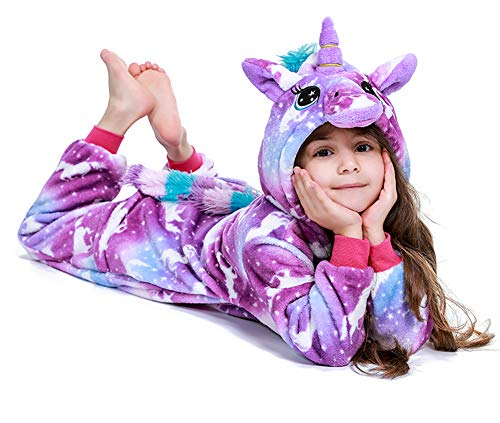 "PlushCosplay Kids Animal Onesie Unicorn Pajamas Halloween Costume, Purple Night, 4T Suit Height 37""-40"""