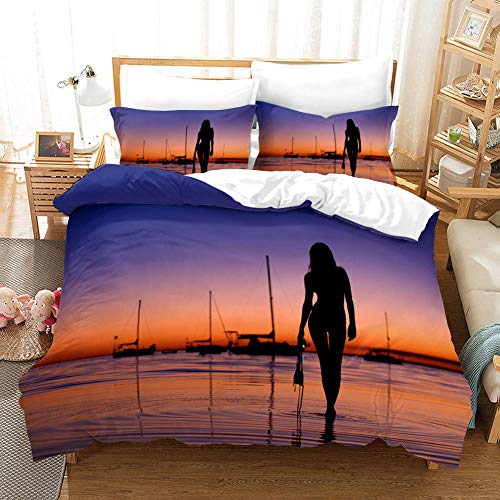 FAIEK Duvet Cover Single bed Sunset sea water 140x200cm Printed Polyester with Zipper Closure Bedding Easy Care Anti-Allergic Soft Smooth with Pillow Cases 3 pcs set,ocean sailboat landscape