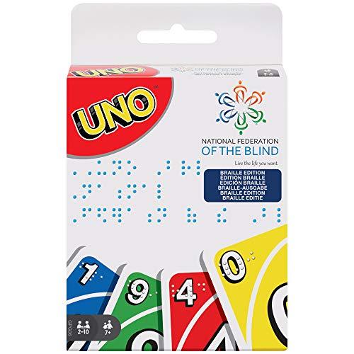 Mattel Games GPG06 - UNO Braille Kartenspiel und Gesellschaftspiel, Kartenspiele für die ganze Familie, für Blinde und sehbehinderte Personen, ab 7 Jahren