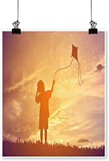 On Canvas Prints Little Girl plaay Kite on Sunset Paintings for Wall Decor,28