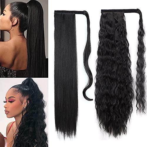 ColorfulPanda 2 Pièces Postiche Queue De Cheval, 61cm Long Wrap Around Morceau de Cheveux pour Les Femmes Fille Cheveux Synthétiques Noirs pour Un usa