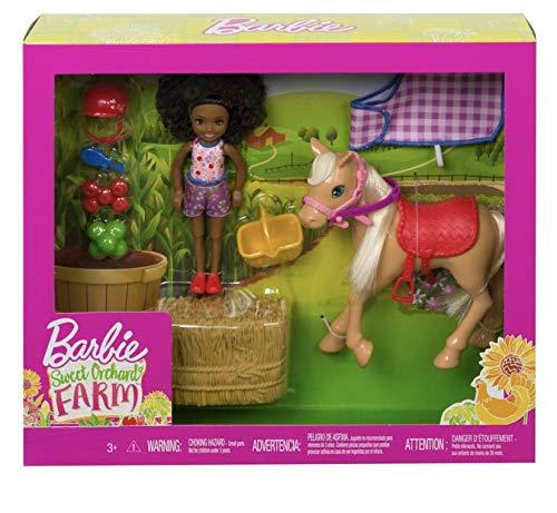 Barbie Sweet Orchard Farm Chelsea Doll & Pony 7 Piece Set-Black Chelsea Doll