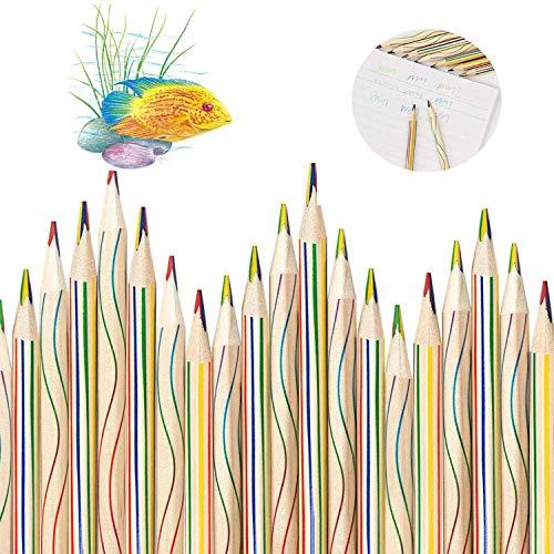 WELLXUNK Lapices de Colores,30 Piezas 4 en 1 lápices de Colores,lápices arcoíris,para Arte Dibujo, Colorear y Bosquejar