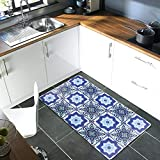 AGELMAT Kitchen Rug, Memory Foam Kitchen Mat Anti Fatigue No-Slip Comfort Area Rugs Water Proof & Oil Proof Carpet Mat Set,Water Oil Proof Standing Rug Decor Laundry, Floor Home, Office, Sink,Blue