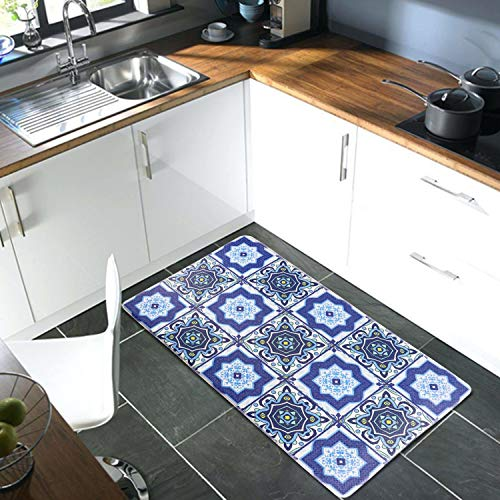 "XN Kitchen Rug,Anti Fatigue Kitchen Mat 17""×30"" Memory Foam Comfort Area Rugs No-Slip Water & Oil Proof Throw Carpet Decor for Floor Bathroom Living Room Office Front Door Sink (Blue)"