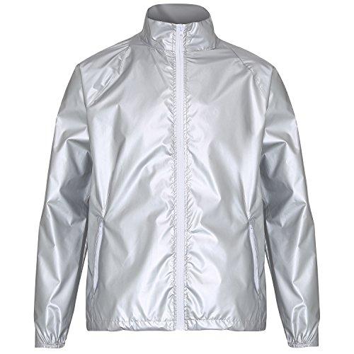 2786 Herren Contrast Lightweight Jacket Jacke, Mehrfarbig (Silber Metallic/Weiß 000), L