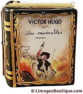 VICTOR HUGO BOOK - LIMOGES PORCELAIN FIGURINE BOXES AUTHENTIC IMPORTS
