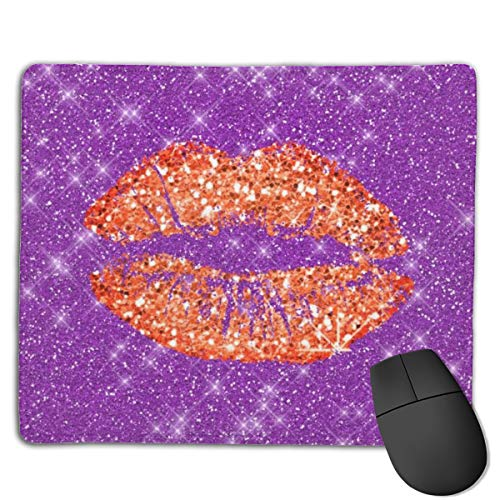 Jujupasg-Mauspad, Rutschfestes, Wasserdichtes Mousepad Auf Gummibasis Für Laptops -Korallenrotes Goldglitter Kuss Lippenmake up