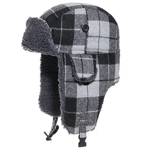 Bonnet Company Chapka Herman Gris Carreaux Bonnet taillé 61