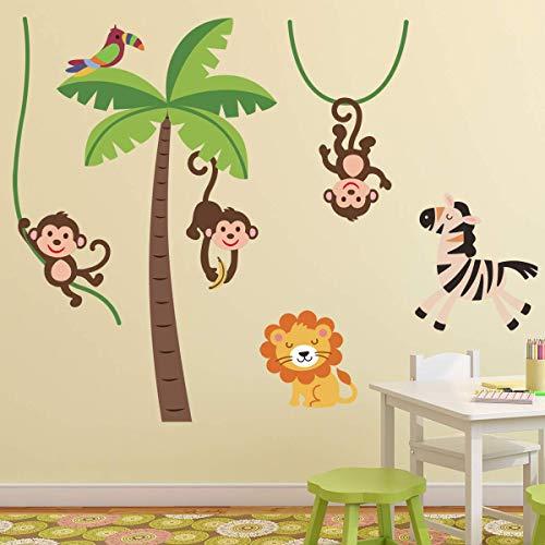 Stickers adhésifs Enfants | Sticker Autocollant animaux de la savane - Décoration murale chambre enfants | 60 x 60 cm