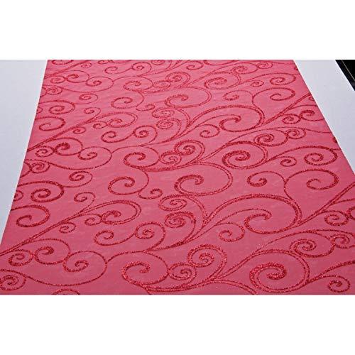 Chaks C52030030 - Chemin de Table Organza Arabesques 36cm x 5m, Rouge/Rouge