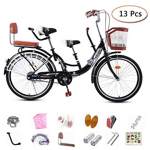 LUCKFY 22-24 Zoll Eltern Kinder Bikes - Tandem Fahrrad - High Carbon Stahl Mutter und Baby-Fahrrad-Kette geschlossen Griffige Fußpedale für Reisen mit Kindern (3-Seater),22 inch