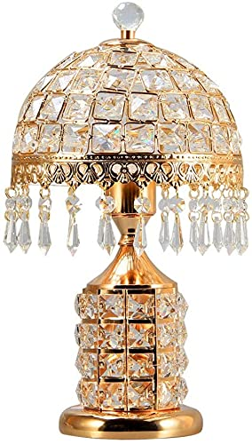 LLDKA Lámparas de Mesa Interruptor de la lámpara de Cristal con Acabado de latón Antiguo teñido Lámpara de Escritorio Moderna y Concisa para el Dormitorio