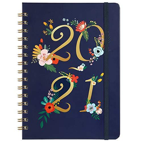 Terminkalender 2020 2021 A5 Kalender, Läuft von Juli 2020 bis Juni 2021, WochenPlaner, Dunkelblaues Hardcover, Zwillingsdrahtbindung, 21,5 x 15,5 cm