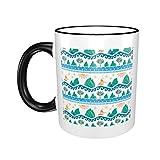 Taza de café de cerámica de 325 ml, para fiesta de cumpleaños, Navidad, tierra, mar y tierra, color negro, talla única