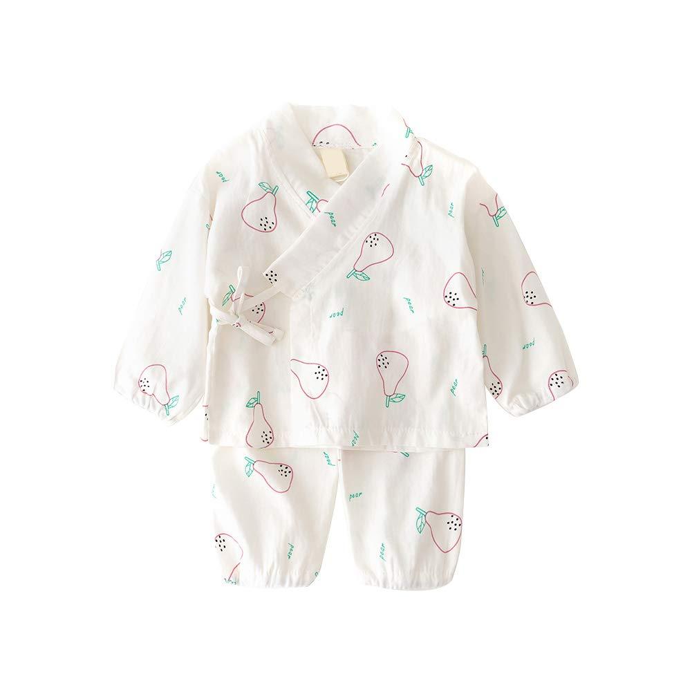 Camisa del bebé dormir Set japonesa pijamas de algodón Set kimono con pantalones de dibujos animados de pera imprimió el sistema de infantil Los niños pequeños Niño 110cm blanca 1Ponga: Amazon.es: Juguetes