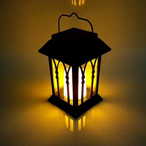 LEDMOMO LED-Kerze-Lichter Solarbetriebene schwarze Metalllaterne imprägniern hängendes Licht für Baum-Garten im Freien mit Fenster-Dekoration