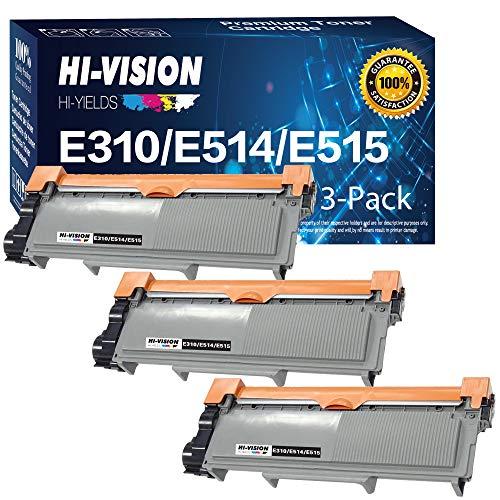 HI-Vision 3 Pack Compatible 593-BBKD, PVTHG Toner Cartridge Replacement for Dell E310dw/ E514dw/ E515dw/ E515dn (High Yield Black)