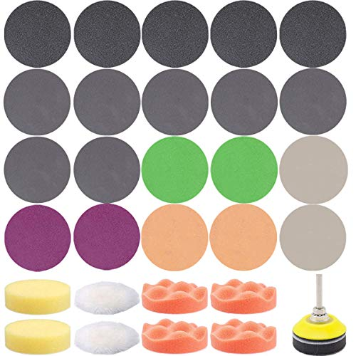 195 PCS 2 Inch Sandpaper, GOH DODD Wet Dry Sander Sheets with Backer Plate 1/4' Shank and Soft Foam Buffering Pad, 60 to 10000 Grits Grinding Abrasive Sanding Disc for Wood Metal Mirror Jewelry Car