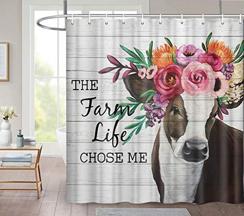 Duschvorhang mit Bauernhof-Kuh, lustiger Tier-Rinderkopf mit bunten Blumen, rustikales graues Holzbrett, Bauernhaus, wasserdichter Stoff, Duschvorhänge für Badezimmer-Dekor mit 12 Haken, 174 x 178 cm