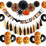 Partido Decoración 15 Unids/Set Decoraciones De Fiesta De Halloween Colgante Murciélago Calabaza Banner Fantasma/Globo Sonriente Cortina De Papel Borla Telón De Fondo Decoración Del Hogar