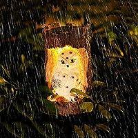 太陽フクロウガーデンライト屋外吊り下げフクロウランプ、太陽電動刻まれた切り株像防水LEDフクロウライト庭の装飾品屋外動物ライト
