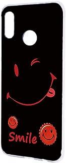 [FFANY] HUAWEI nova lite 3 (POT-LX2J) ケース ハードケース [スマイル・レッド] smile 缶バッチロゴ ニコちゃん ノバライトスリー スマホケース 携帯カバー blacksmile-h081@03