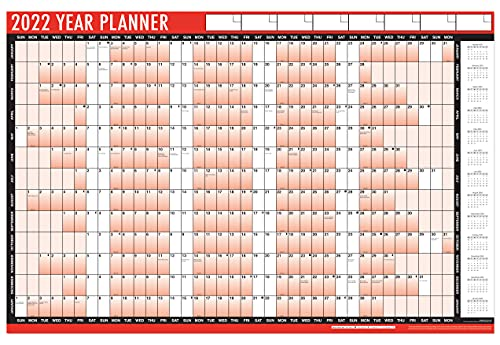 1Above 2022 Year Wall Planner A1 Large 85cm X 58cm Laminated Wall Calendar With Stickers And Dry Wipe Pen