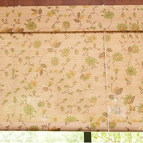 HH- Persianas de bambú Impresión de Persianas Enrollables de Bambú con Cenefa, Cortina Filtrante de Luz, Persianas de Privacidad para Interiores, Fácil de Instalar, 60/80/100/120 cm de Ancho