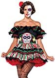 Leg Avenue Women's 2 Piece Day of the Dead Doll Adult Sized Costumes, Black/Multi, Medium Large US