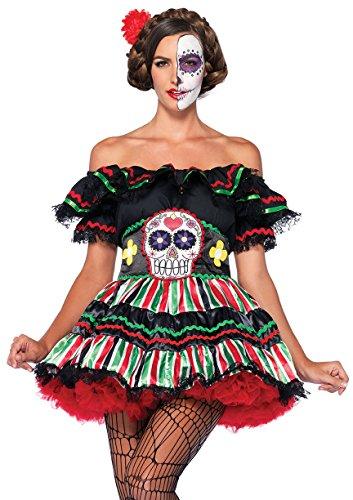 Leg Avenue de la Mujer 2Piezas muñeca de día de los Muertos, Color Negro, Talla X-Large