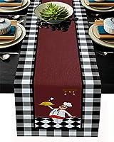 テーブルランナー 黒い白い キチン 料理人 テーブルクロス モダン 北欧風 プレースマット レストラン用 滑り止め 上品 断熱 食卓飾り お食事マット おしゃれ インテリア 41x183cm