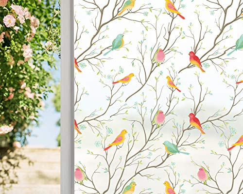 Coavas Privacy Window Film Opaque Non-Adhesive Frosted Bird Window Film Decorative Static Cling Film Bird Window Stickers for GF-WF-75-2WB Home Office 17.7In. by 78.7In. (45 x 200Cm),White
