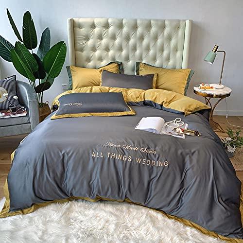 Juego De Ropa De Cama Con Funda De EdredóN,Cubierta de seda de seda de hielo de verano, sábanas de cama extragrande de estilo europeo, ropa de cama de seda lavada, boda y regalos de cumpleaños-L_1,8